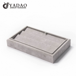 China Special wonderful design good experience in the MOQ mdf velvet/leather style jewelry displays trays for earring/pendant factory