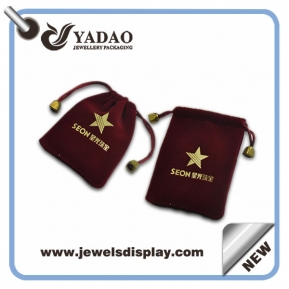 China Velvet pouch bag for jewelry package with your logo from China factory