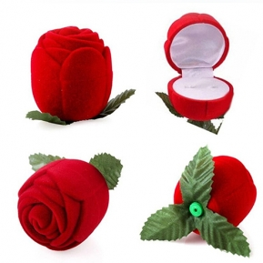 China Wholesale antique style ring box luxury custom jewelry wedding velvet ring box Red Rose Ring Box Supplier factory