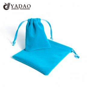 China Wholesale custom logo soft-touched drawstring blue velvet pouch with customized size, color and logo factory