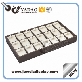 China Wholesale jewelry display earring tray with compartments wood lining leatherette cover factory