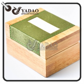 China Wooden jewelry box for ring/earring/necklace/bangle/jewelry set covered with a piece of leatherette IN STOCK. factory