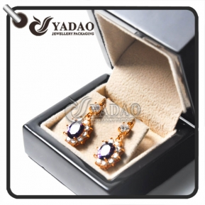 China Wooden shiny  piano finish earring box stud package for high end jewelry factory