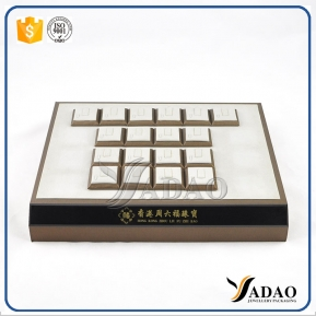 China Yadao Factory price customize free logo wholesale OEM ODM ring wooden covered with linen/leather jewelry display tray frame material factory