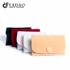 China Yadao customized jewelry velvet pouch with snap closure jewelry packaging pouch factory