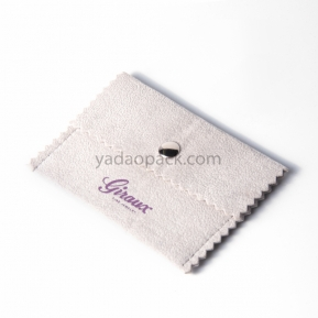 China Yadao handmade jewelry pouch granulated velvet packaging bag with snap closure and jagged edges factory