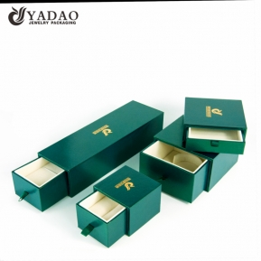 China Yadao luxury jewelry box drawer plastic box christmas gift box green color box with custom free logo printed factory