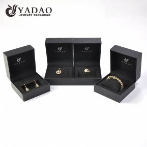 China Yadao luxury jewelry plastic box in cool balck color with EVA lining and moveable pad factory
