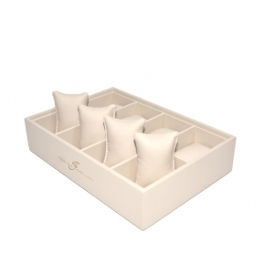 China Yadao luxury leather bracelet tray wooden bangle display tray beige tray with pillows insert factory