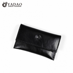 China Yadao noble pu leather jewelry pouch black packaging pouch with snap closure factory