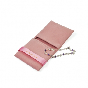 China Yadao soft velvet jewelry pouch pink packaging bag double pockets pouch with ribbon closure factory