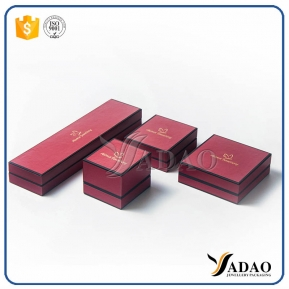 China adorable double color decorated leatherette paper velvet palstic box set for rings/earrings/pendant,etc. factory