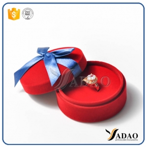 China attractive romantic cute warm round modesty red  flocking box with blue ribbon for child jewels wholesale from Yadao factory