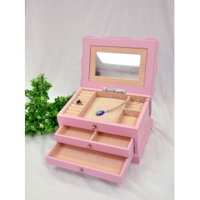 China beautiful lacquer wooden jewelry storage box with mirror factory