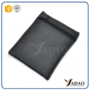 China black pu leather bag with zipper closure customize logo printing packaging bag pu leather high quality finish factory
