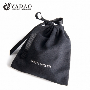 China black suede pouch jewelry packaging pouch bag with ribbon string closure factory