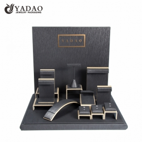 China brand jewelry display set wooden displays coated with pu leather for jewelry window counter factory
