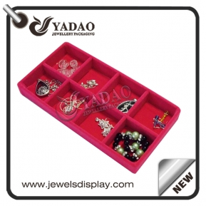 China custom available flexible size color small square design mdf +velvet/leatherette display trays for ring/bracelet/necklace factory