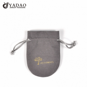 China custom drawstring microfiber jewelry pouch bag packaging pouch with hot stamping logo  factory