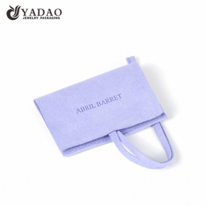 China custom microfiber pouch flap design jewelry packaging pouch bag with embossed logo  factory