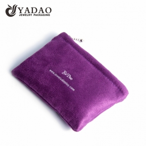 China custom soft logo printed velvet pouch with zipper for jewelery packaging factory
