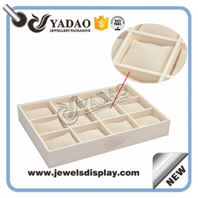 China customize handmade wooden tray display jewels stackable bracelet display tray jewelry display tray pillow tray display bracelet bangle watch display cushion factory