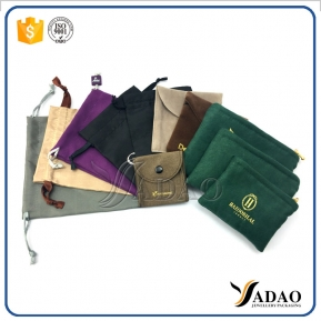 China fabric finish jewelry pouches packaging jewelry bag velvet suede satin pouch with drawstring/zipper/button customize brand name printing factory