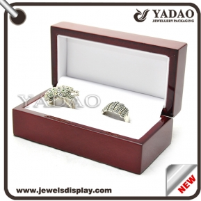 China glossy lacquer painting wooden jewelry box packaging ring box wooden ring box slot ring insert factory