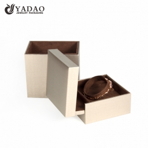 China gold jewelry box flapped open wood with custom logo printed factory