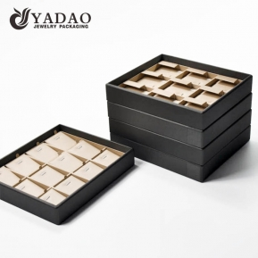 China handmade stockable luxury competitive price MOQ  wholesale Yadao mdf leather jewelry displays  trays/tray set factory