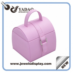 China high-end delicate MOQ wholesale portabl pretty  pu leather plastic with velvet inner core jewelry box factory