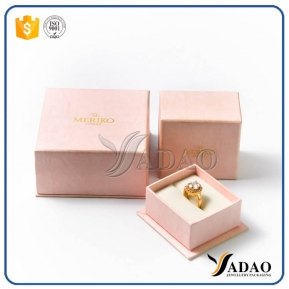 China high-end luxury slight peach color competitive price  quality  paper jewelry box for jewelery factory