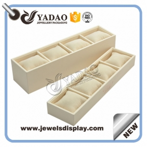 China high quality soft velvet pillow tray jewelry display bangle/watch/bracelet display tray pu leather cover factory
