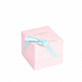 China jewelry box with ribbon custom color pink box factory