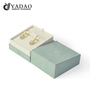 China light green color suede cover cardboard box jewelry paper packaging box earring box with separated lid factory