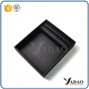 China new arrival convenient small good quality mdf velvet inside leather outside empty trays for jewellery display factory
