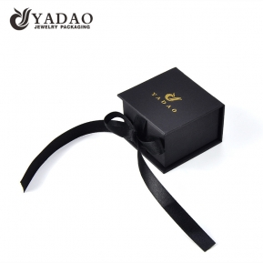 China paper box ring box jewelry with ribbon and customized color logo factory