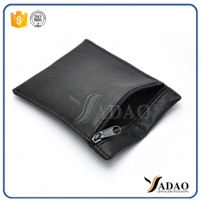 China quality customize black pu leather zipper pouch jewelry packaging pouch pu jewelry bag zipper closure pouch factory