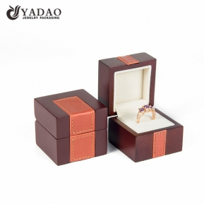 China simple but special matte finish wholesale with leather elements customized  wooden box for luxury jewelry packing factory