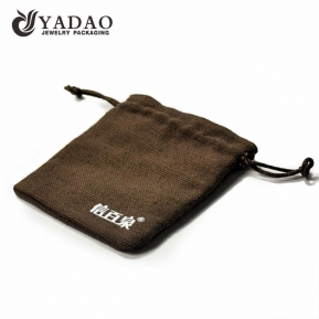 China simple durable long-lasting  wholesale normal but luxury handmade cheap jewelry pouch in linen/velvet/fabric material. factory