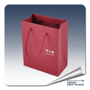 China wholesale custom red paper surface printing logo luxury paper shopping bag and paper gift jewelry bag factory