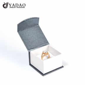 China wholesales flap paper box jewelry packaging magnet closure box for ring factory