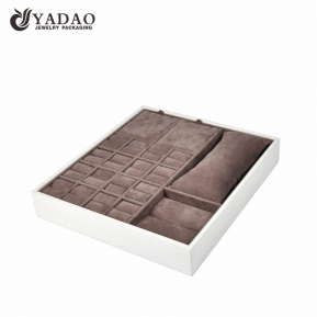 China wooden display tray wrapped by pu leather and microfiber insert tray jewelry display tray set factory