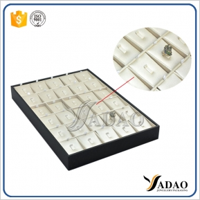 China wooden stackable jewelry display ring display tray pu leather cover ring tray showcase display factory