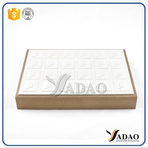 China wooden stackable leather cover jewelry ring display tray stackable ring tray factory