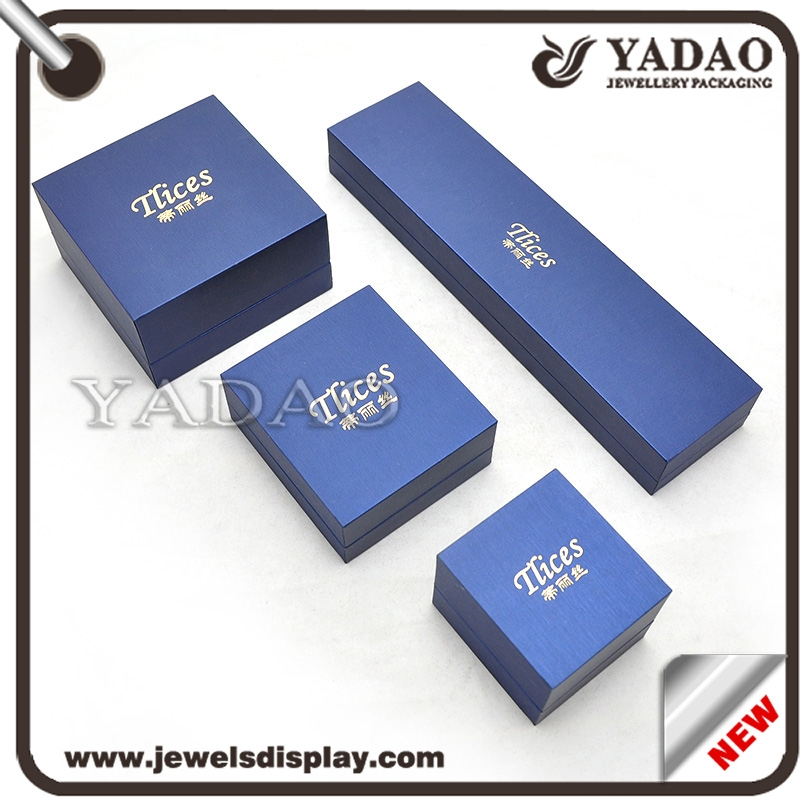 Custom Blue Pu Leather Jewellery Box With Velvet Insert For Necklace Ring Earrings And Bracelet Ng