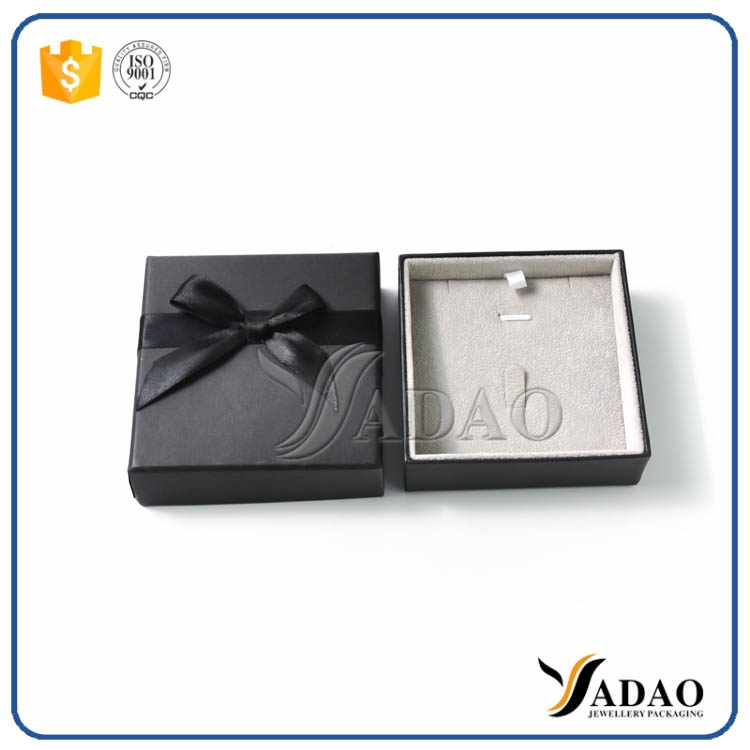 Paper box in black color small paper box ribbon box for High end client gifts