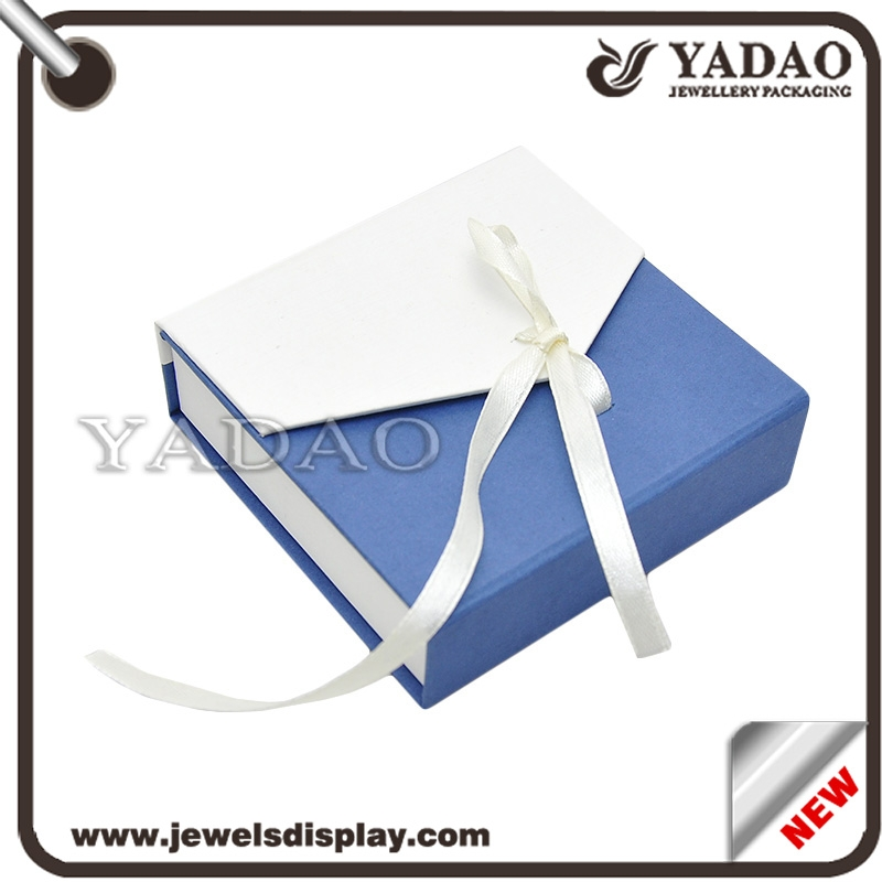 Paper gift boxpaper box packing box wholesale custom newest design white and blue color cardboard packing boxes with ribbon for jewellery storage negle Image collections