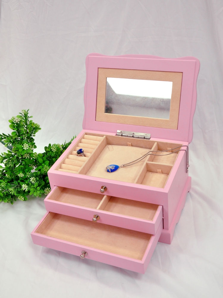 Beautiful Lacquer Wooden Jewelry Storage Box With Mirror ...